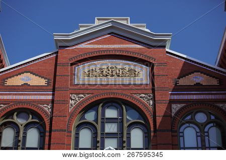 Washington, DC - Mar 31, 2018: Brickwork details on the Arts and Industries Building of the Smithsonian Museum of the National Mall