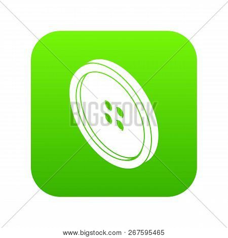 Small Shirt Button Icon Green Vector Isolated On White Background