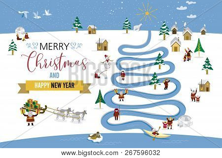 Cute Skimos Characters Celebrating Christmas And New Year 2016 Holidays In A North Pole Little Snowy