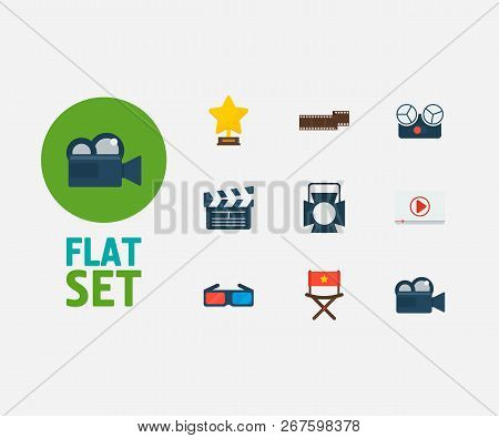 Cinema Icons Set. Play Video And Cinema Icons With Director Chair, Theater Spotlight And Award. Set