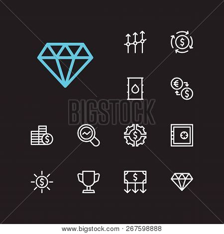 Economy Icons Set. Business Progress And Economy Icons With Jewelry, Exchange And Petroleum. Set Of