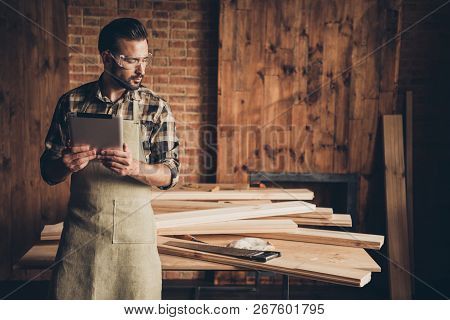 Creative Idea Saw Hand Handsaw Table Top Log Profession Reader New Information Concept. Serious Smar