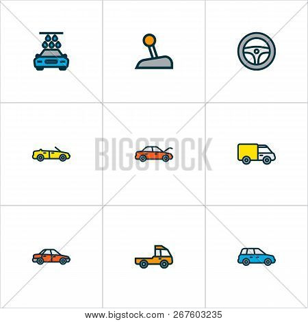 Automobile Icons Colored Line Set With Steering Wheel, Gear, Prime-mover And Other Sport  Elements.