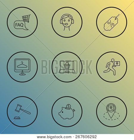 Ecommerce Icons Line Style Set With Call Center, Ecommerce, Online Shop And Other Operator Elements.