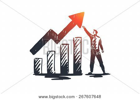 Balance Sheet, Analysis, Financial, Growth, Graph Concept. Hand Drawn Growth Chart And Manager Conce