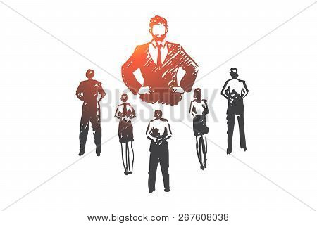 Authoritarian Boss, Work, Dictator, Leader, Pressure Concept. Hand Drawn Strict Boss And Subordinate