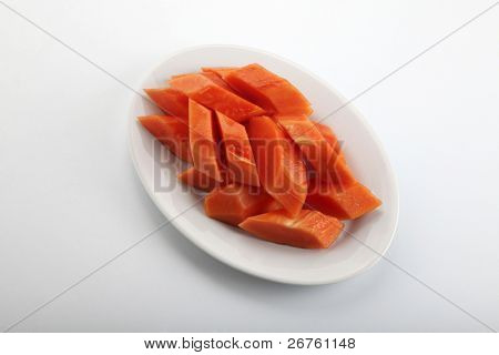 plate of cutted fruit papaya on the plain background poster