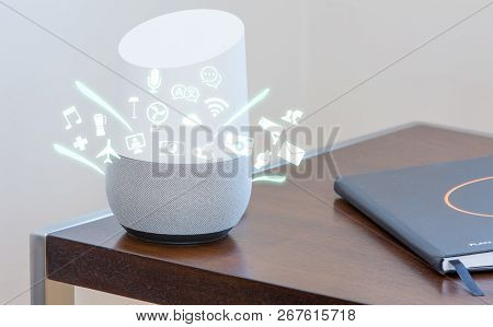 Smart Home Assistant Device, Virtual Assistant , Artificial Intelligence, Home Control Internet Of T