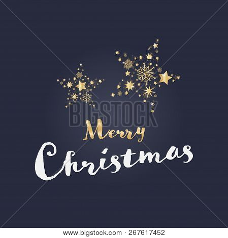 Christmas Time. Card With Luxury Gold Decoration. Text : Merry Christmas