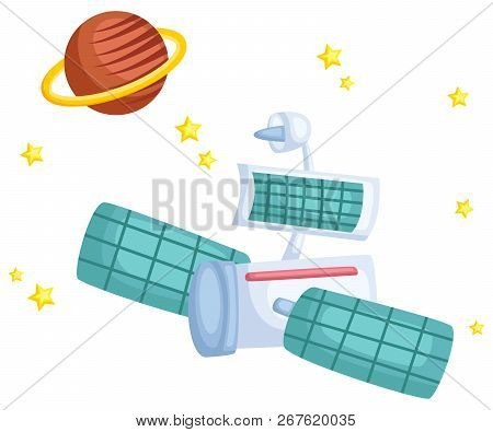 A Vector Of A Satellite With A Planet In The Background