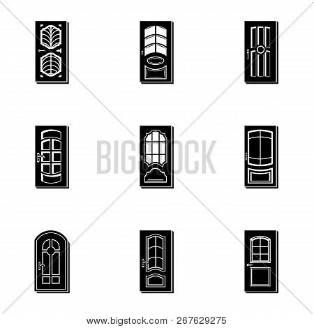 Wood Door Icons Set. Simple Set Of 9 Wood Door Vector Icons For Web Isolated On White Background