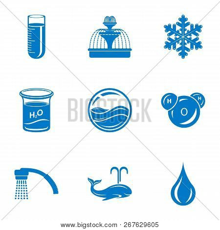 Mineral Water Icons Set. Simple Set Of 9 Mineral Water Vector Icons For Web Isolated On White Backgr