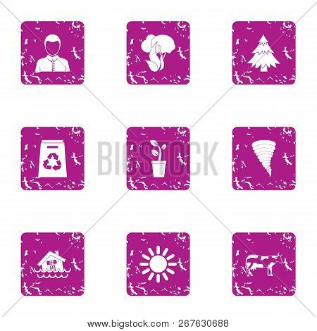 Rescuing Nation Icons Set. Grunge Set Of 9 Rescuing Nation Vector Icons For Web Isolated On White Ba