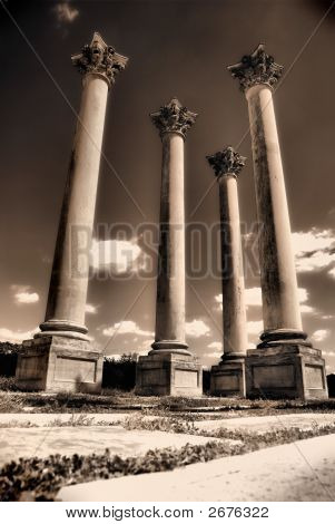 Four Pillars In Sepia Toning