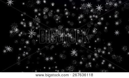 Isolated Snow Falling On Black Background. Abstract Animation Of Snowflakes. Winter Background With