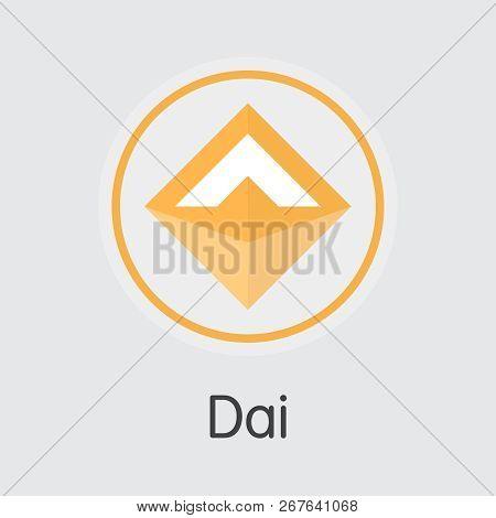 Dai Crypto Currency. Vector Dai Graphic Symbol. Vector Icon