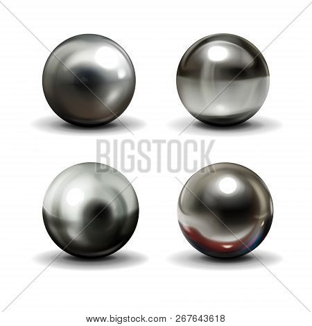 Set Of Steel Or Silver Balls With Shadows From Below Realistic Vector Isolated On White Background.