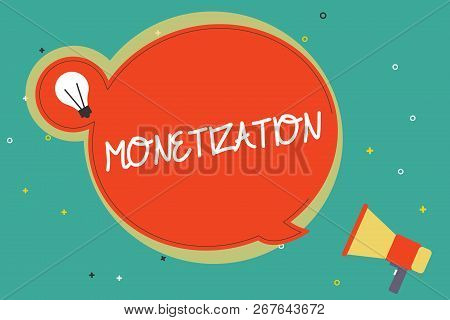 Text sign showing Monetization. Conceptual photo Process of converting establishing something into legal tender poster