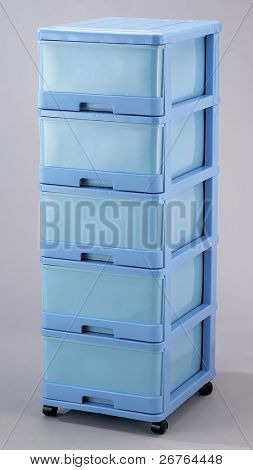 Plastic Storage drawers for convenience shot in a studio.