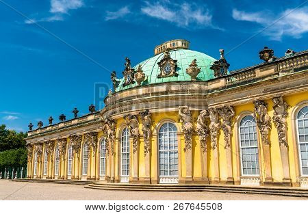 Sanssouci Palace, the summer palace of Frederick the Great, King of Prussia, in Potsdam near Berlin, Germany poster