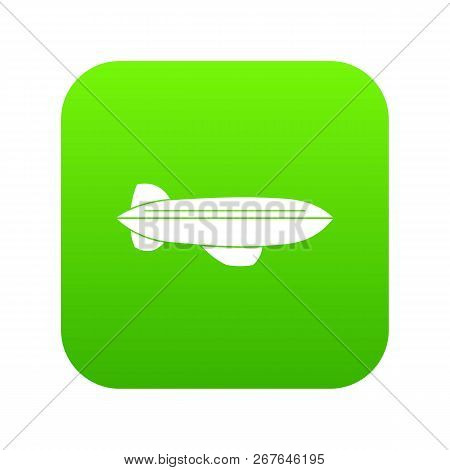 Blimp Aircraft Flying Icon Digital Green For Any Design Isolated On White Vector Illustration