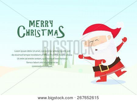 christmas and new year banner design santa claus dancing and having fun fir trees in green background template can be used for greeting cards posters