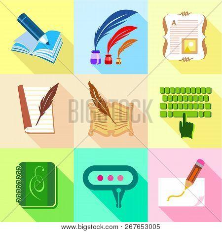 Memoir Icons Set. Cartoon Set Of 9 Memoir Vector Icons For Web Isolated On White Background