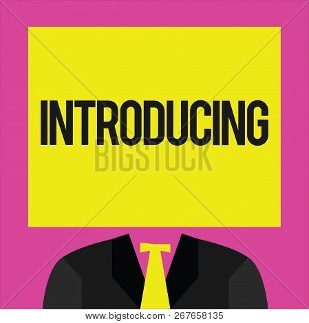 Conceptual Hand Writing Showing Introducing. Business Photo Showcasing Presenting A Topic Or Someone
