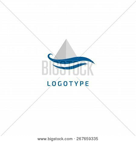Ship, Yacht Logo Silhouette Logo. Vector Abstract Minimalistic Illustration Fishing. Tourism, Cruise