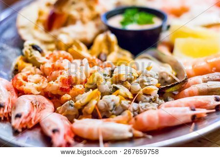 Selective Focus, Seafood Platter From A Local Restaurant In Southwold, A Popular Seaside Town Of The