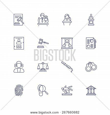 Law And Criminal Icons. Set Of Line Icons On White Background. Judge, Murder, Law. Vector Illustrati