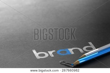 Brand Name Written Over Black Paper Background With White And Blue Wooden Colored Pencils. 3d Illust