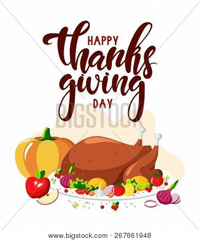 Vector Flat Design Of A Festive Turkey For Happy Thanksgiving Day. Vector Illustration Of Happy Than
