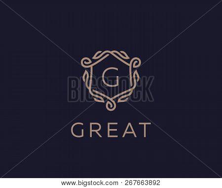 Premium Linear Shield Monogram Letter G Logotype. Elegant Crest Leaf Stamp Icon Vector Logo. Luxury