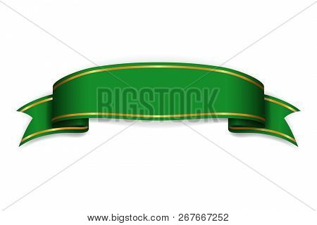 Ribbon Green Banner. Sign Satin Blank Promotion, Web, Advertising Banner. Shiny Ribbon Scroll Design