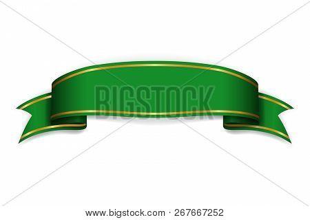 Ribbon Green Banner. Sign Satin Blank Promotion, Web, Advertising Banner. Shiny Ribbon Scroll Design