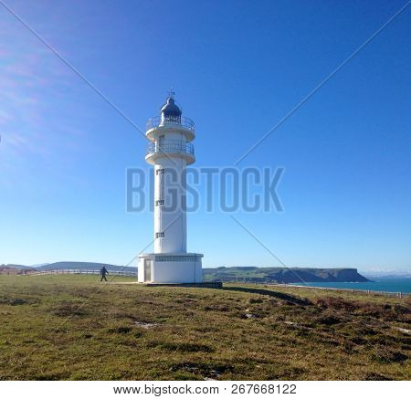 Lighthouse Faro De Cabo Ajo, Bareyo, Cantabria, Northern Spain.