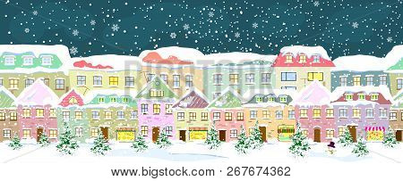 Winter City Landscape, Seamless. City Street In Winter. The Houses Are Covered With Snow. Snow On A