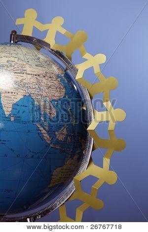 Paper chain hung around the globe.