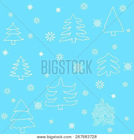 Seamless Vector Pattern With Christmas Trees And Snowflakes. Can Be Used For Wallpaper, Textile, Pac