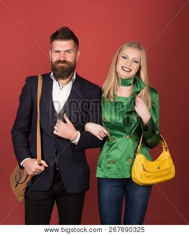 Loving Their New Style. Couple In Love In Fashionable Style. Fashion Couple Of Sexy Woman And Bearde
