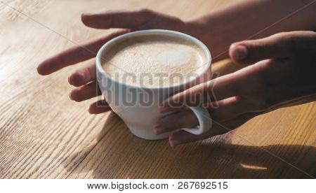 Fresh Morning Coffee With Milk And Cream Froth. Relax In Cafe Or Coffee Shop And Drinking. Perfect M