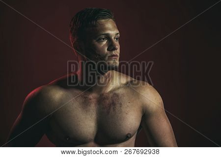 Satisfied With His Work. Strong Man With Muscular Chest. Muscular Man. Construction Worker Or Builde