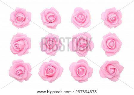 Set Of Pink Roses On A White Background. Porcelain Roses. Vector Illustration