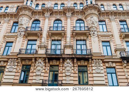 Jugendstil Art Nouveau building in Riga, Latvia poster