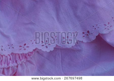 Pink Fabric Texture With Ruffle And Pattern