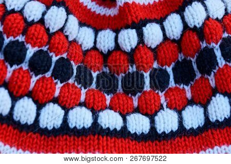 Colored Texture Of Woolen Fabric With A Pattern