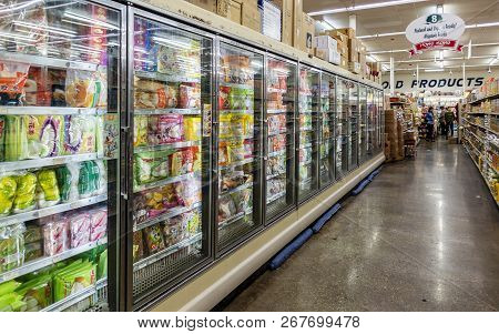 New Orleans, Usa - Dec 3, 2017: Frozen Food Aisle At The Hong Kong Food Market Shopping Center. A Co