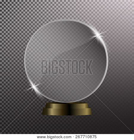Glass Shining Trophy  Isolated On Black Transparent Background. Glass Trophy Award Vector Illustrati