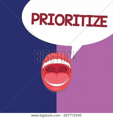 Text sign showing Prioritize. Conceptual photo Organize designate or treat something as being more important poster
